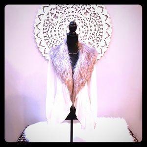 White House Black Market Fur Trimmed Sweater 🌟